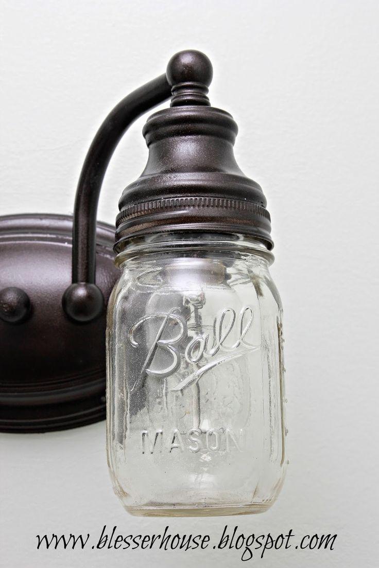 DIY Mason Jar Vanity Light - Bless'er House
