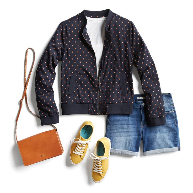 Spring Denim Trends love everthing in this look. Perfect jacket - great shorts - love the pop of color. I look great in navy, orange and yellow