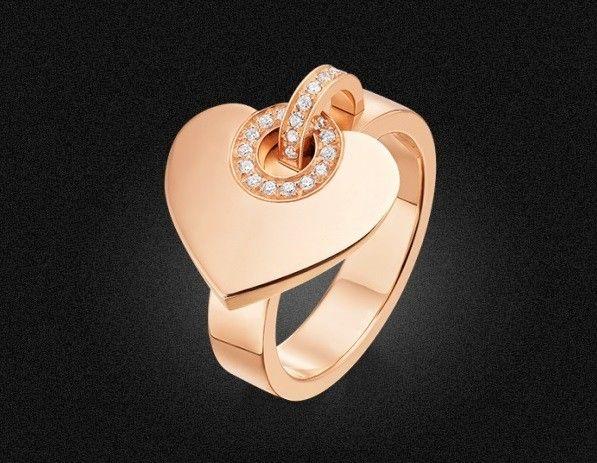 Anello Bulgari Bulgari Cuore - Anelli Bulgari più belli: modello con cuore in oro rosa e pavè di diamanti