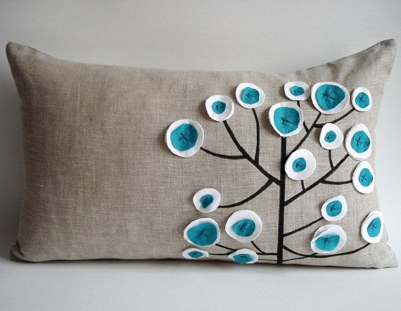 blue treePillows Covers, Pattern Pillows, Cushion Covers, Cushions Covers, Originals Pens, Pillow Covers, Felt Trees, Pens Pattern, Living Room Pillows