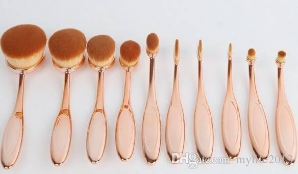 Your attention should put on the superior brush sets, buy makeup online and clean makeup brushes on DHgate.com. The 10pcs/set in the box rose gold beauty toothbrush shaped foundation power makeup oval cream puff brushes sets oval brushes free shipping sold by mylife2013 is of trendy design and low price.