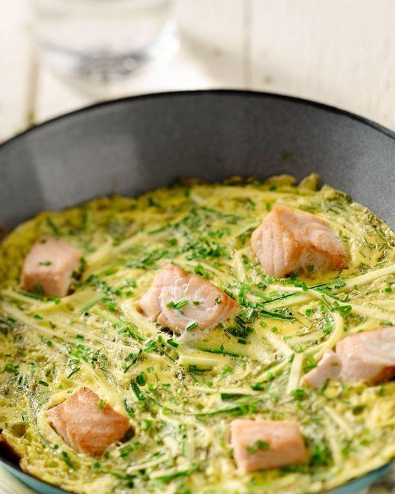 Eieren zijn niet enkel lekker als ontbijt maar ook in een omelet bij de lunch of het avondeten. Dit omelet met zalm en courgette is lekker en makkelijk!