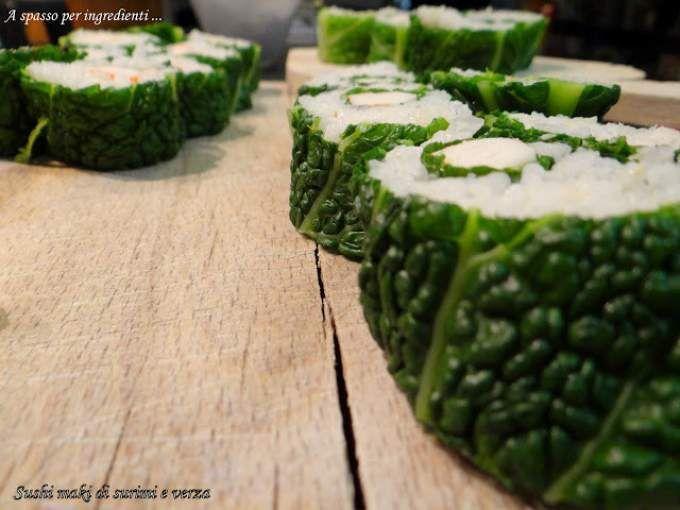 Un po' di sushi fusion? - Ricetta Antipasto : Maki sushi di surimi e verza con salsa agropiccante al miele da Vmarangoni