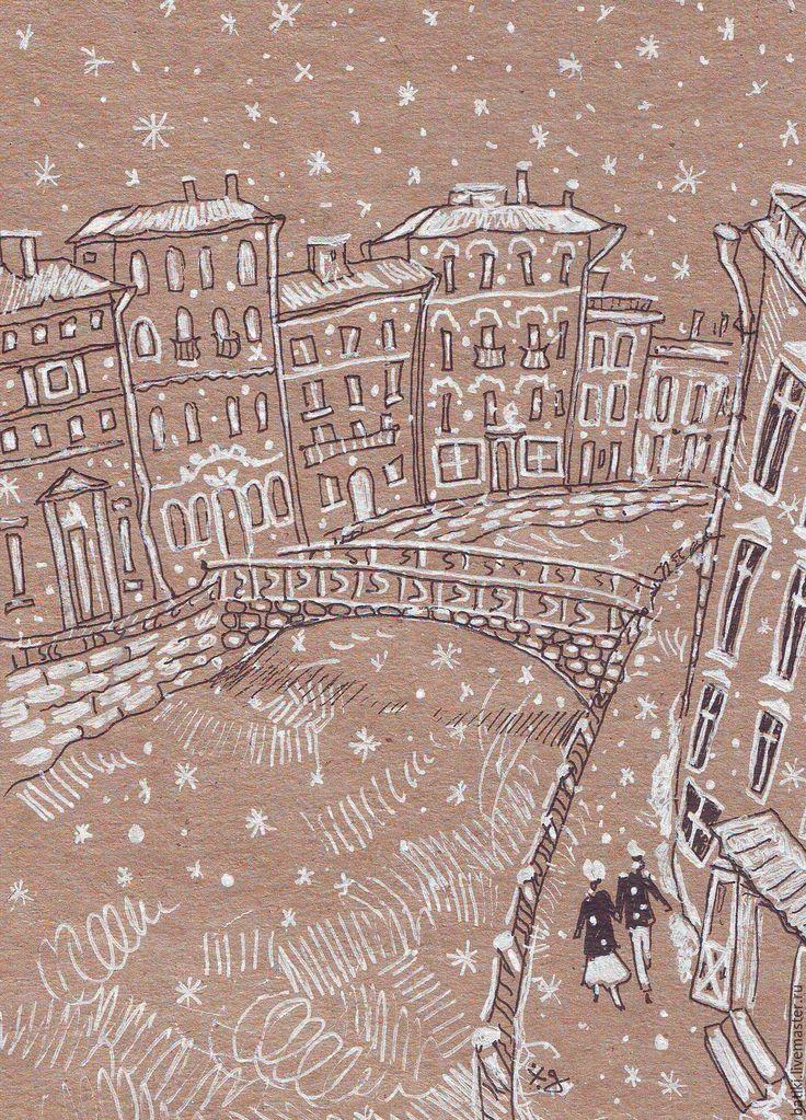 Купить Зимний город. - белый, Снег, снежинки, зима, зима 2016, город, городской пейзаж