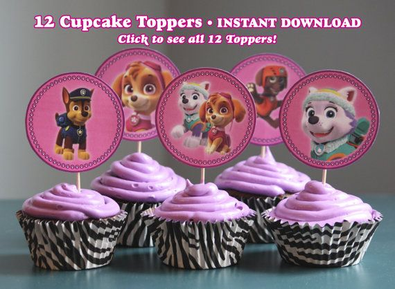 Paw Patrol NON Personalized Cupcake Toppers , You Print Digital File  ~This is a digital File Item, NO Physically Items will be shipped.~  Set