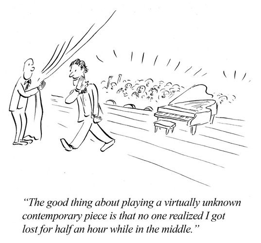 Contemporary Music Humor.... I hate contemporary pieces // Ahahahahaha! I could do this with some of my own compositions...