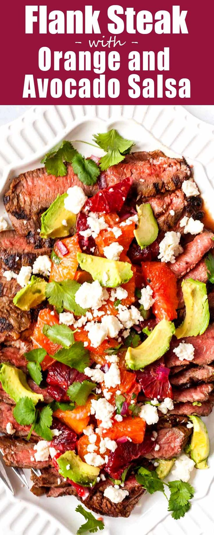 Switch up your dinner routine this flank steak and citrus-avocado salsa! It's easy to make on the stovetop or on a grill, and feeds the whole family. Serve as tacos or over salad greens. #flanksteak #steak #tacos #TacoTuesday