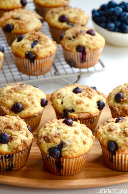 Blueberry Coffee Cake Muffins with Streusel | recipe via justataste.com