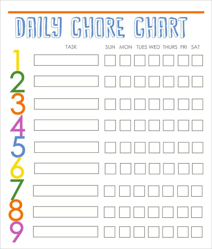 Family Chore Chart Template – 10+ Free Word, Excel, PDF Format ...