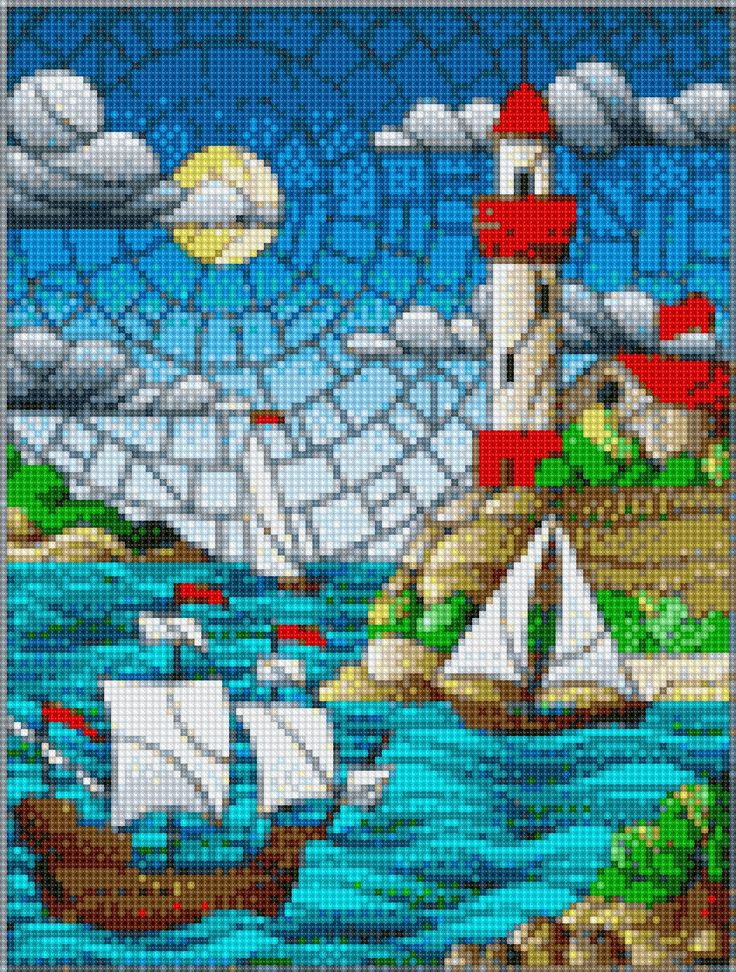 Lighthouse Cove Stained Glass Cross Stitch APP