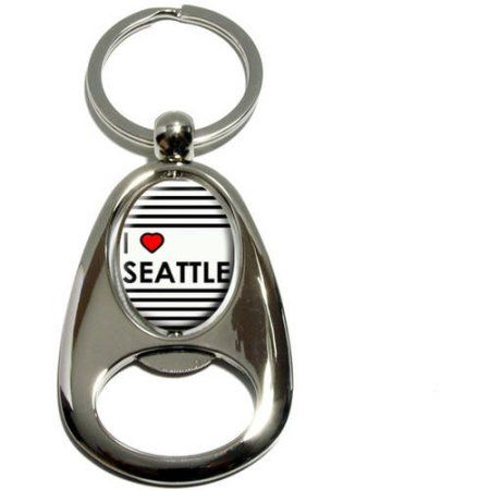 I Love Heart Seattle, Washington, Chrome Plated Metal Spinning Oval Design Bottle Opener Keychain Key Ring, Silver