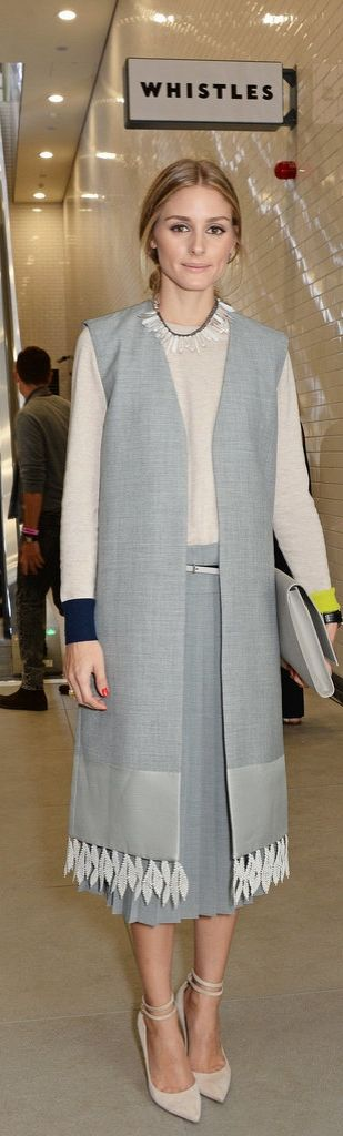 A long vest added texture and volume to Olivia Palermo's classic look.