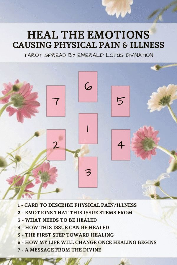 I invite you to accept that some of your pain or illness may be caused by emotions or stress. Begin to heal yourself with this tarot spread. Find more free spreads at www.emeraldlotus.ca