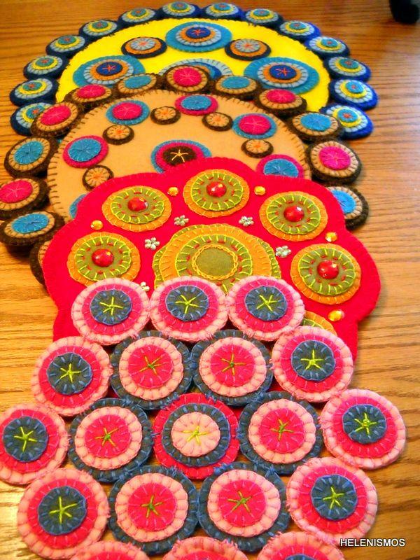 penny rug, wool felt