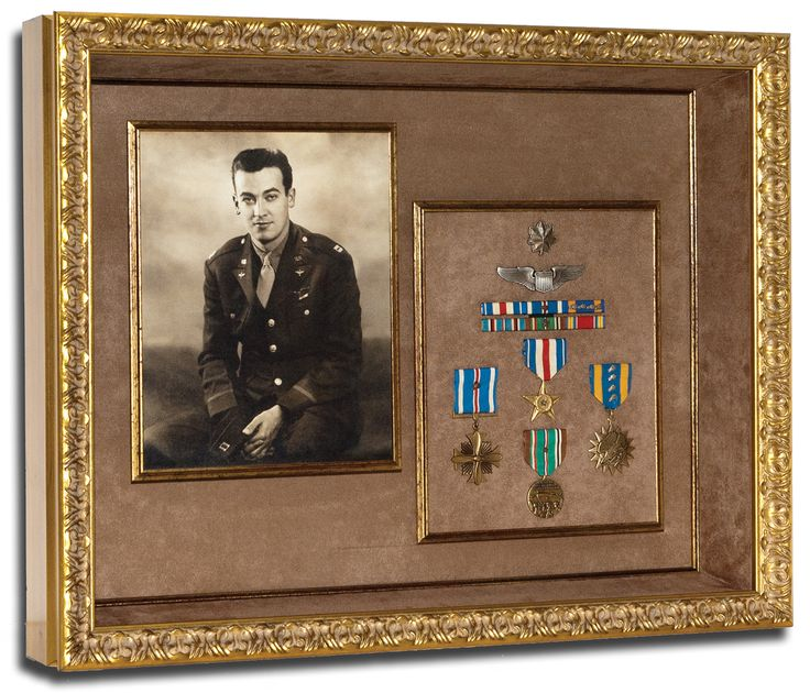 Military Photograph Framed With Medals Shadowboxes
