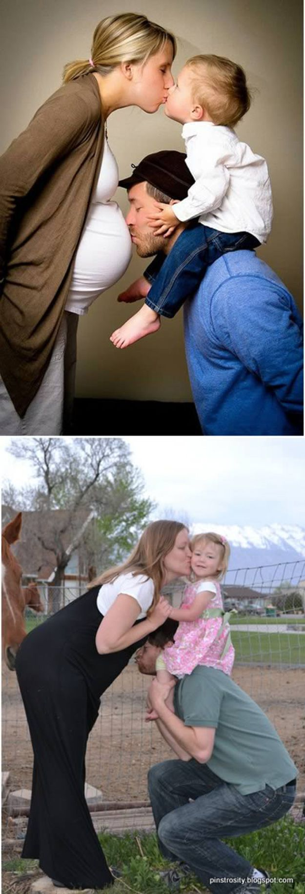 """Pinterest Photo Ideas I know the second one said the baby bump wasn't big enough and became a fail, but I think  the horse """"sniffing her butt"""" in the biggest fail!  LOL"""