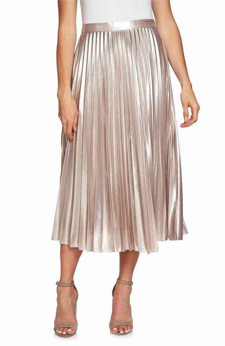 Main Image - 1.STATE Metallic Pleated Midi Skirt