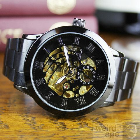 Night Black & Gold - Mechanical Skeleton #Watch