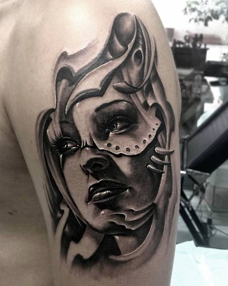 black and grey realistic tattoo by SKERYONE