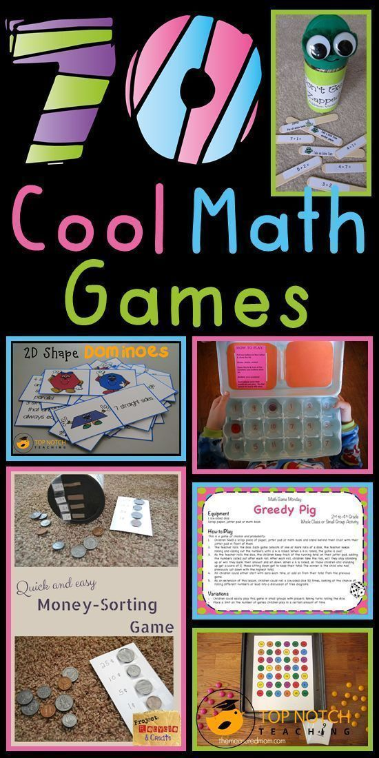 70 cool math games, separated by grade level. An amazing list to help add some activity to your math lessons.