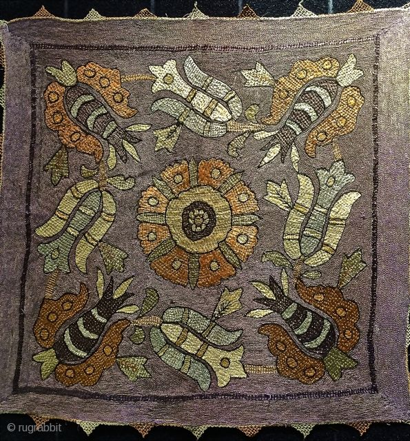 Ottoman embroidery early 19th.century.size 46 x 46 cm.silk and some metal thread