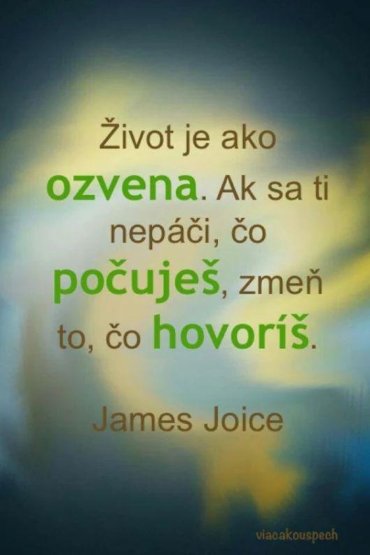 Život je ako ozvena. AK SA TI NEPÁČI, ČO POČUJEŠ, ZMEŇ TO, ČO HOVORÍŠ. -- James Joice