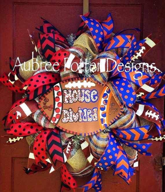 House Divided Football Burlap Mesh Wreath You Choose Team Alabama Auburn,Georgia, Florida Tennessee LSU ect...,  on Etsy, $90.00