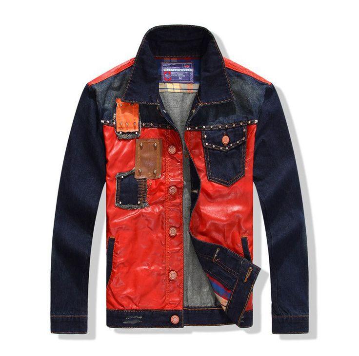 2015 männer pu lederjacke patchwork jeans jacken pullover jeans oberbekleidung drehen- down-kragen casual top mode mann jacke m-xl(China (Mainland))