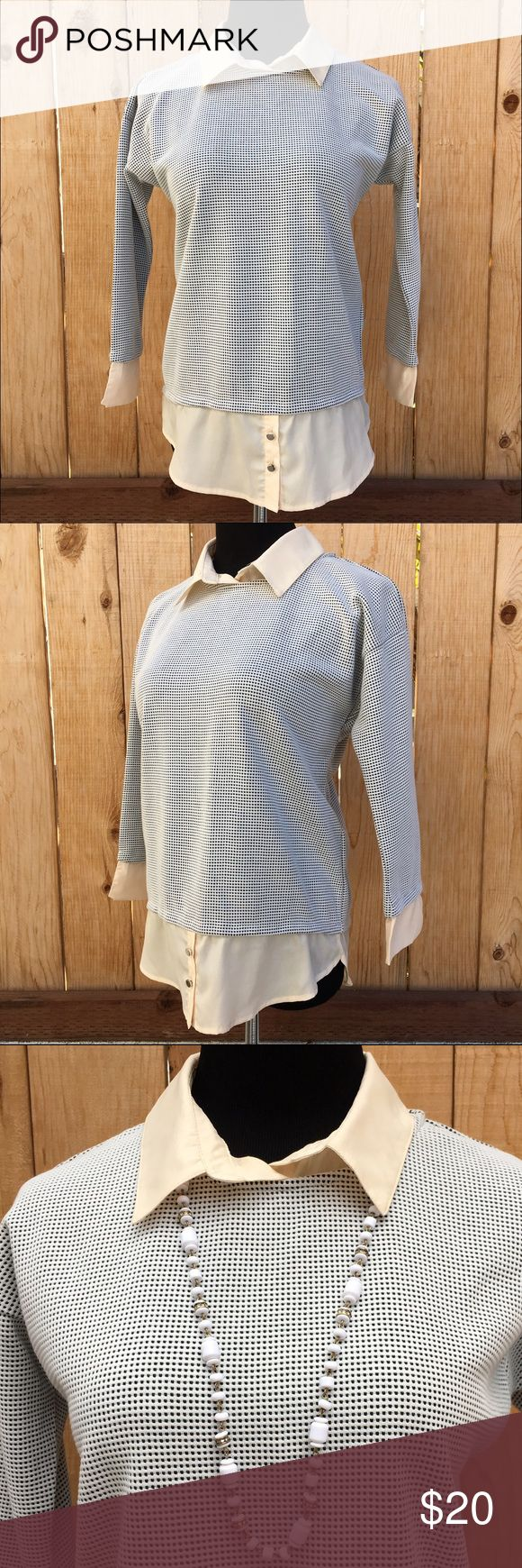 🆕🎁 Long sleeve Pull Over Top One piece long sleeve pull over top. Pull over scoop neck has been dressed up with a light weight cream 100% polyester material; attached collar, cuffs & extra length in front & back. Two buttons are added to back neck area as shown in photo. In excellent new condition. NWT price cut was $20. Miroa Tops