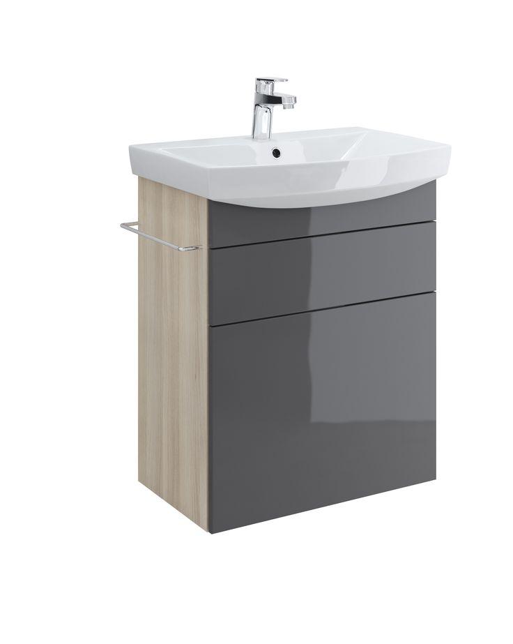Szafka SMART pod umywalkę CARINA 60, szary front - Cersanit