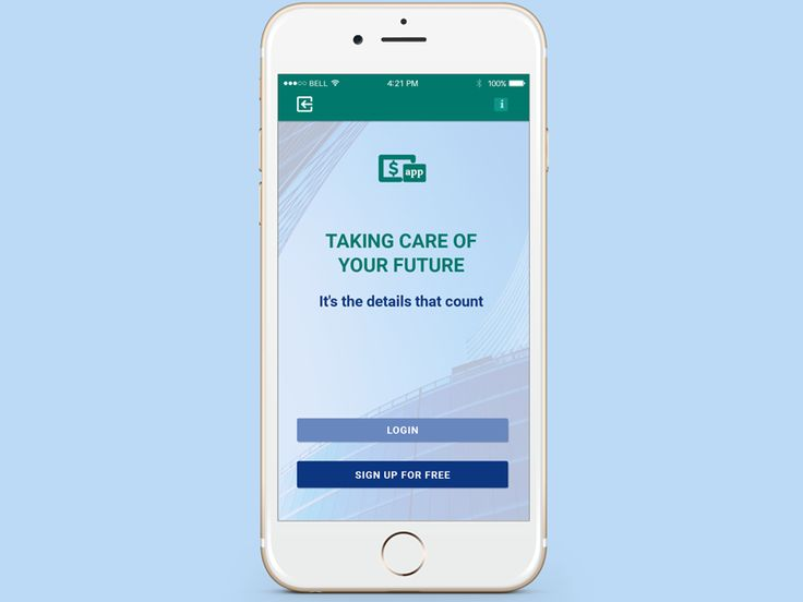 Initial page for financial app by Madalina Taina