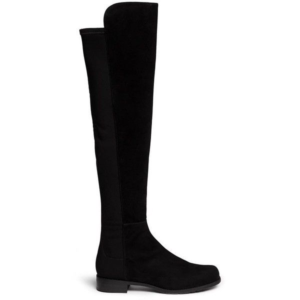 Stuart Weitzman 5050 elastic back suede boots ($655) ❤ liked on Polyvore featuring shoes, boots, above the knee boots, stuart weitzman boots, low heel boots, over-knee boots and stretch suede boots