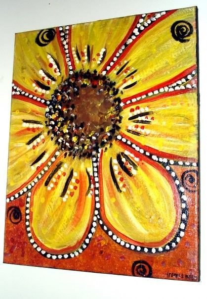 16x20 gallery wrapped canvas.. A whimsical canvas painting of a pop-art style bright yellow flower.