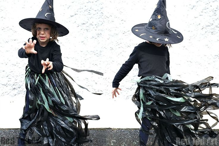 Find out how to make this easy witch tutu out of black bin liners as a quick last minute witch costume. Includes step by step instructions.