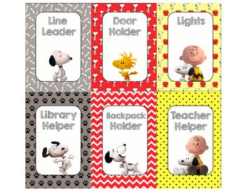Class jobs for a Snoopy themed classroom.                                                                                                                                                                                 More