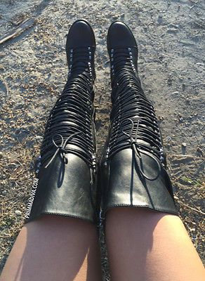 BLACK THIGH HIGH OVER KNEE LACE UP COMBAT HOT FASHION CELEBRITY BOOTS NEW