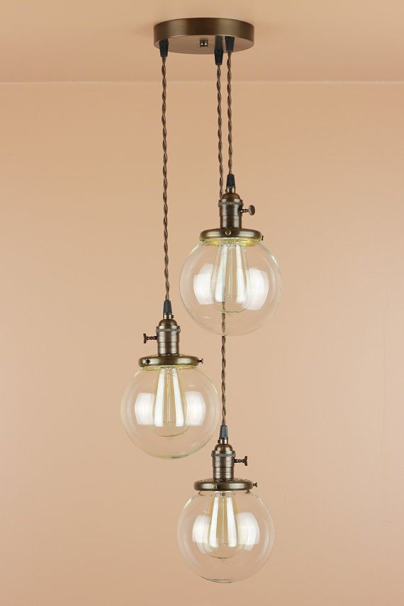 3 Light Chandelier Cascading Pendant Lights With 6 Inch Clear Glass Globes Oil Rubbed Bronze Finish Edison Bulbs