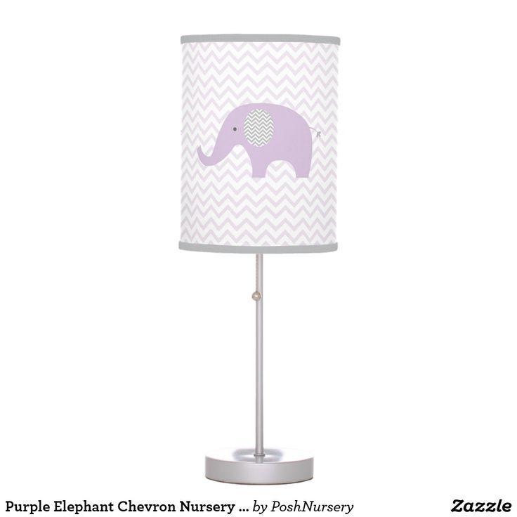 Purple Elephant Chevron Nursery Lamp