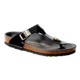 Gerade Sandalen Birkenstock Gizeh Schwarz Lack Gold-Schuhgröße 38 gekauft: