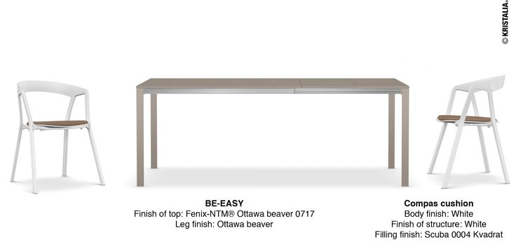 Monday idea – Kitchen idea  BE-EASY – table Finish of top: Fenix-NTM® Ottawa beaver 0717 Leg finish: Ottawa beaver  Compas cushion – chair Body finish: White Finish of structure: White Filling finish: Scuba 0004 Kvadrat