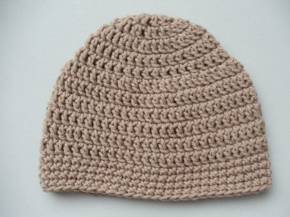 Brown del sombrero del ganchillo, para hombre Crochet Beanie, Taupe Beanie (HAT102 Soft Taupe)