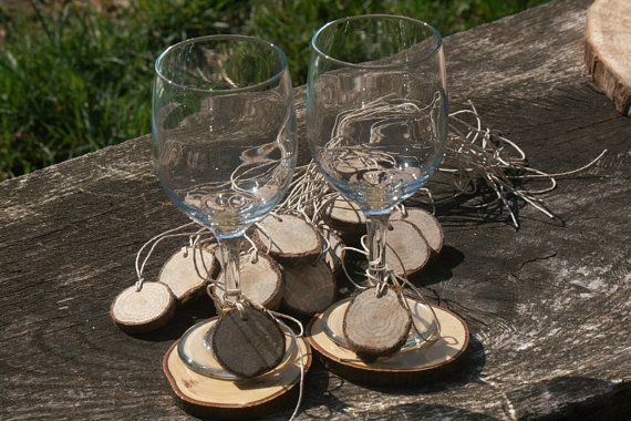 Rustic Wine Glass Tags Slices 50 Oak Tags  by TheHeritageTree, $25.00