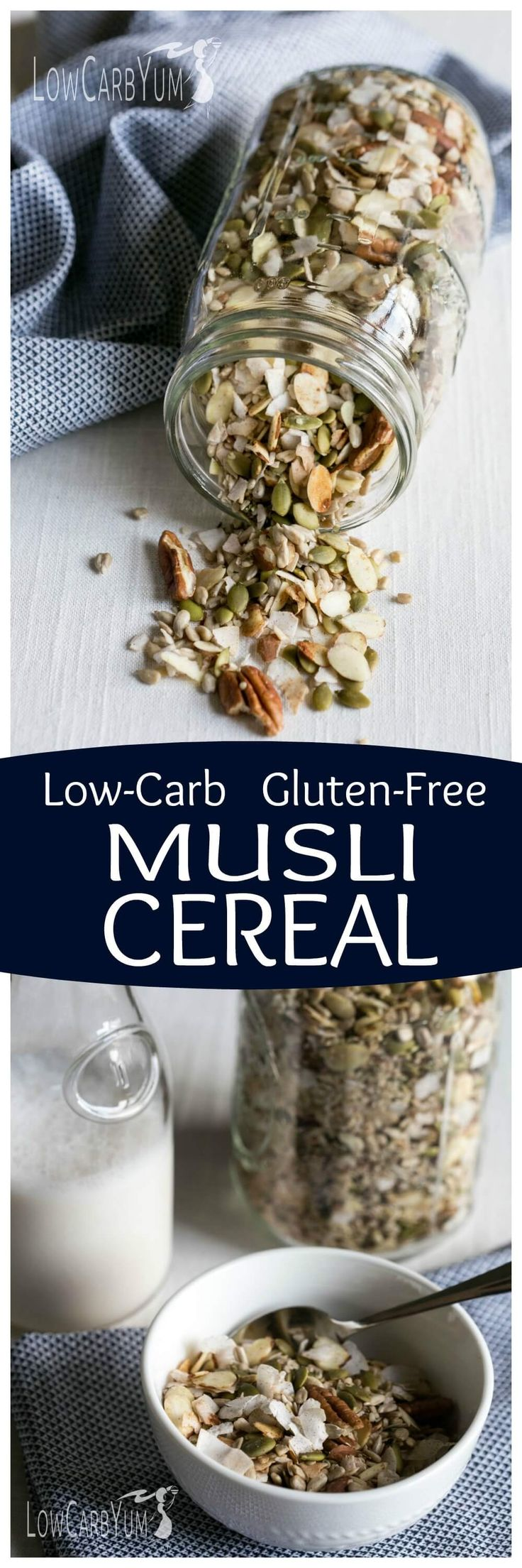 If you're following a low carb paleo diet, you'll love this low carb gluten free musli cereal. It's loaded with whole food ingredients without sugar added! | LowCarbYum.com