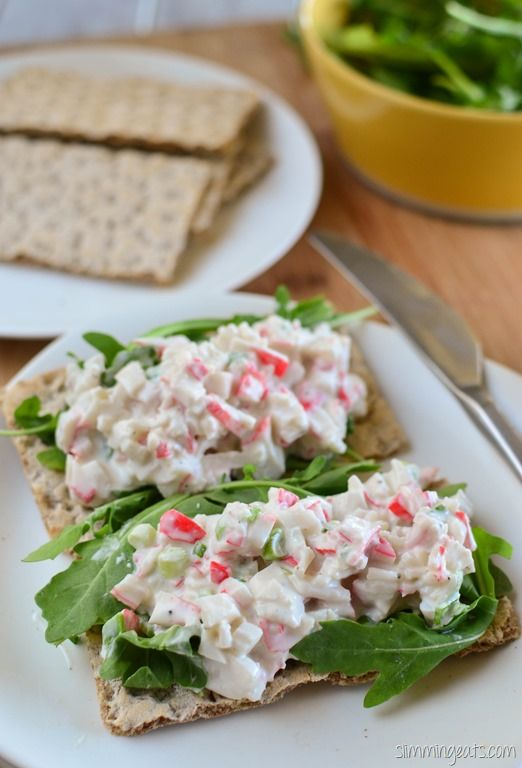 Slimming Eats Crab Stick Salad - Slimming World. Use 0% Greek Yoghurt & perhaps try with a lighter mayo to see how it tastes before committing to regular mayo