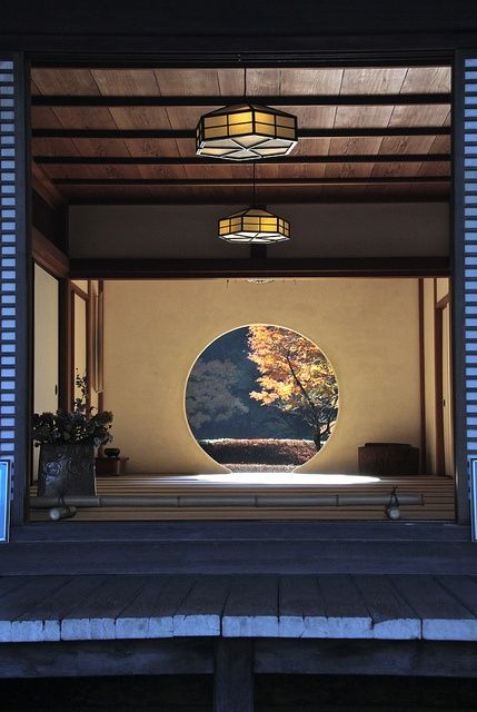 Japanese interior design giving focus on nature outside with the circle picture window -Kamakura, Japan
