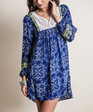 Loving this Blue Paisley Lace-Panel Tunic on #zulily! #zulilyfinds