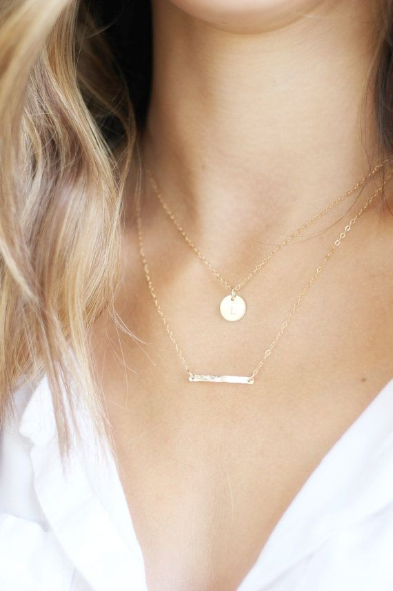 Gold Double Strand Initial Necklace/ Gold or Silver Layering Necklace/ Layering Necklace set of two/ Personalized Necklace/ Hammered Bar