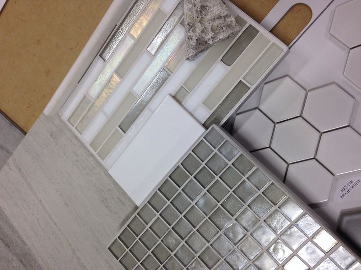 Bathroom Tile Combo Hexagon Tiles On Shower Pan With Grey
