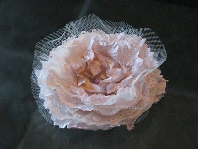 Vintage Style Flower Tutorial using doilies, tulle, tissue paper, cardstock…