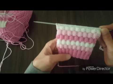 Çift lastik gibi örülen kabartmalı model - YouTube